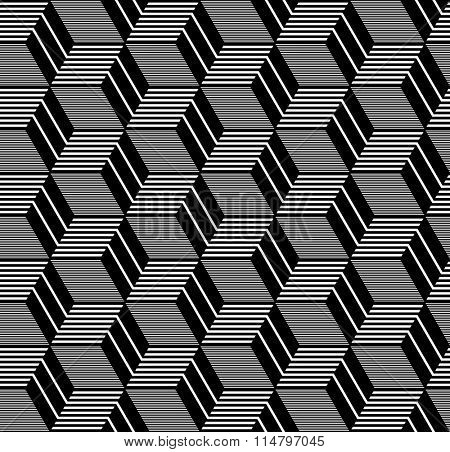 Seamless op art pattern. Geometric diamonds and hexagons texture. Vector art.