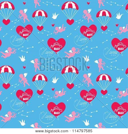 Seamless Pattern With Parachute, Balloon, Angel, Heart, Bird, Arrows And Calligraphic Text Happy Val