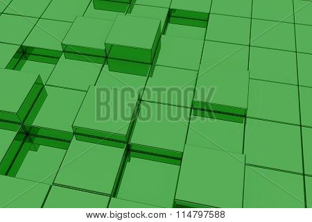 Extruded Green Glass Cubes