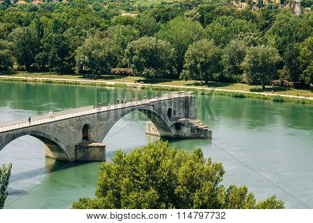 Half ruined bridge in Avignon, Provence, France