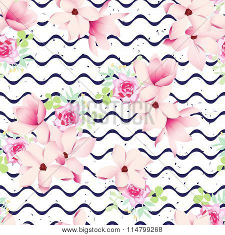 Cute Spring Flowers And Navy Waves Seamless Vector Print. Speckled Backdrop.