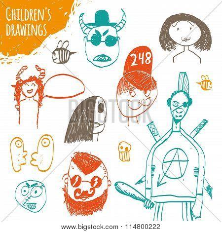 Children's Drawings. Children's Drawings, Handmade, Vector.