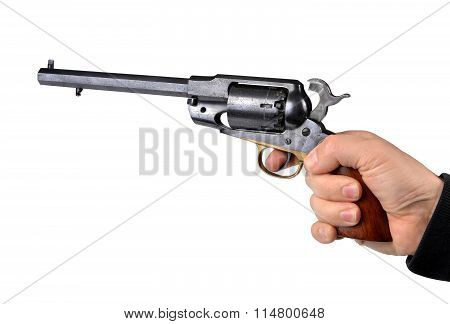 Hand holding percussion revolver