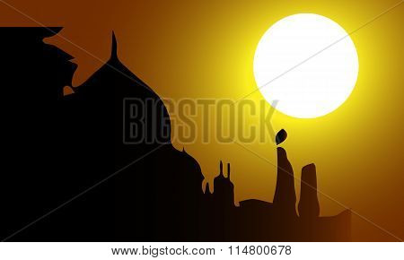 Beautiful Vector Abstract For Incredible India Illustration With Taj and Sun Set Background.