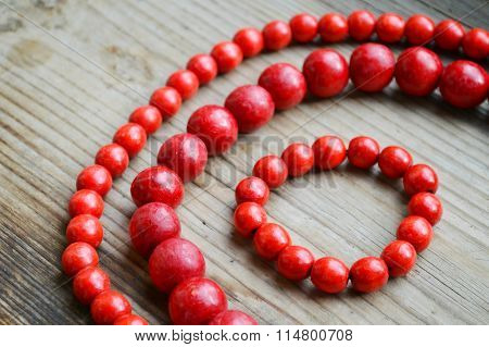 Traditional Ukrainian round red bead made from wood
