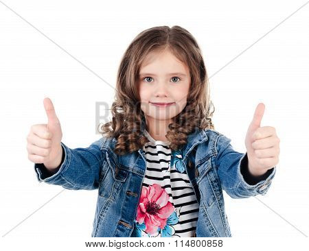 Cute Smiling Little Girl With Two Fingers Up