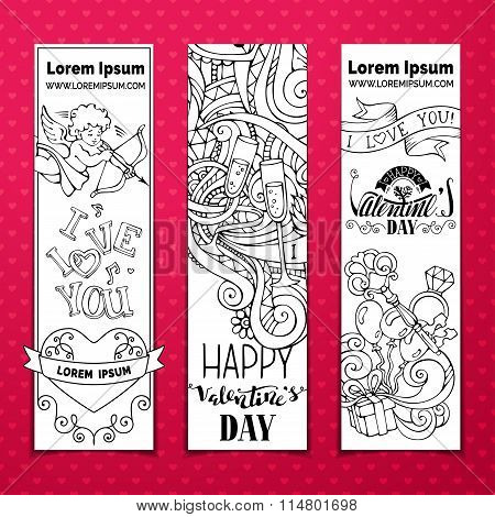 Set Of Doodles Valentine's Banners.