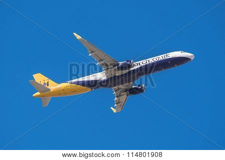 Monarch Airbus 321 is taking off from Tenerife South airport
