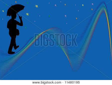 Man walking on rainbow