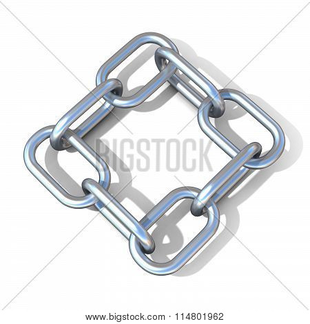 Abstract 3D illustration of a steel chain link. Top view