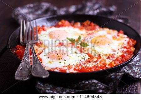 Shakshuka Fried With Vegetables In A Frying Pan