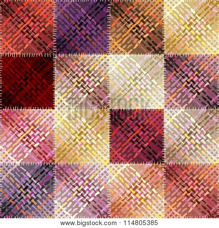 Patchwork pattern with abstract diagonal plaid pattern.