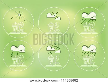 Set Of Weather Forecast Icons With House, Car And Tree Outdoors In Thin Flat Style.