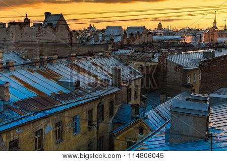 St.PETERSBURG, RUSSIA - SEP 11, 2015: Top view over the roofs of the old center of St. Petersburg. St. Petersburg was founded on 16/27 may 1703 by Peter I.