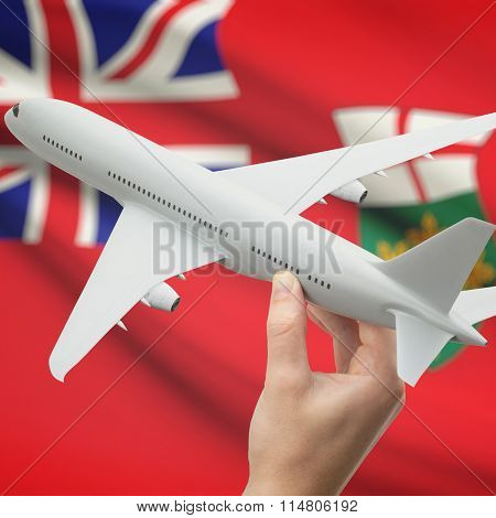 Airplane In Hand With Canadian Province Flag On Background - Ontario