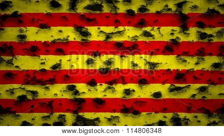 Flag of Catalonia, Catalan Flag painted on wall with bullet holes