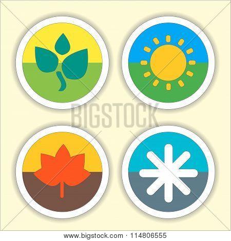 Four Seasons Flat Thin Icon Set.