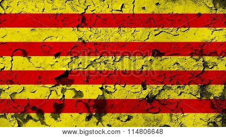 Flag of Catalonia, Catalan Flag painted on cracked paint