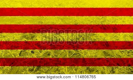 Flag of Catalonia, Catalan Flag painted on frost