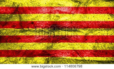 Flag of Catalonia, Catalan Flag painted on wool
