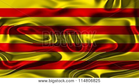 Flag of Catalonia, Catalan Flag painted on silk