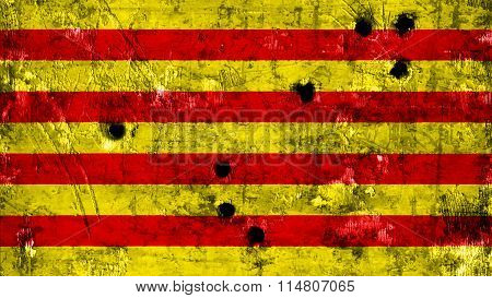 Flag of Catalonia, Catalan Flag painted on metal with bullet holes