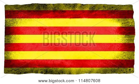 Flag of Catalonia, Catalan Flag painted on paper texture