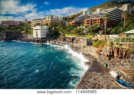 Small City Beach Near Bath Complex Lido In Funchal