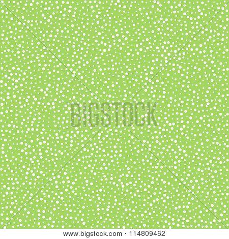 White dots on green background, seamless pattern for textile clo