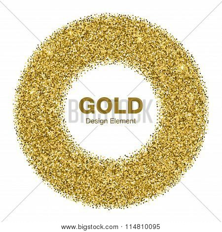 Golden Bright Glowing Circle Frame. Jewelry Gold Emblem  Con