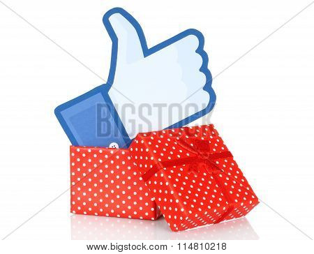 Facebook thumbs up sign into present box