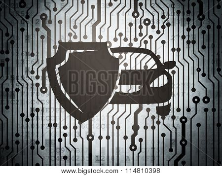 Insurance concept: circuit board with Car And Shield