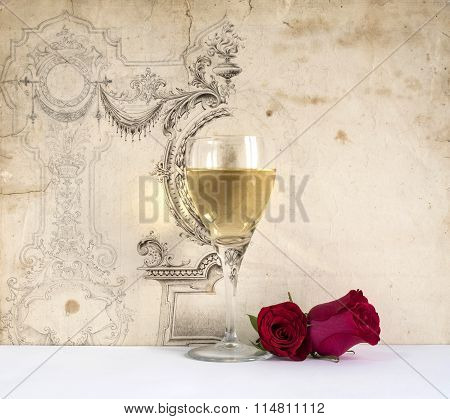 glass of white wine with rose on the decorative background, white background