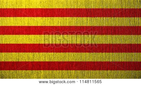 Flag of Catalonia, Catalan Flag painted on metal texture