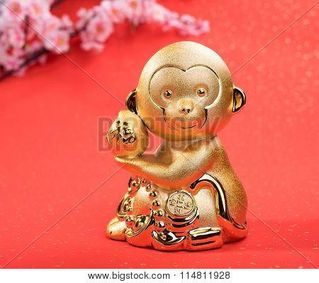 chinese new year decoration  with golden monkey