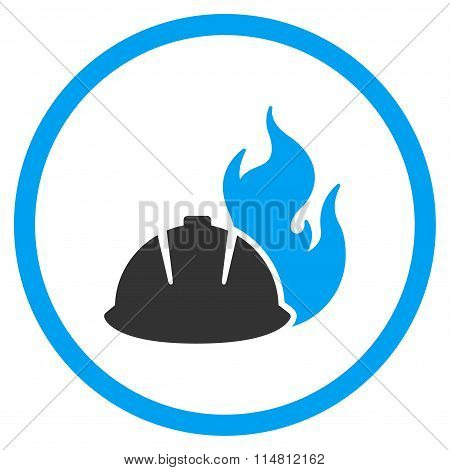 Fire Protection Helmet Flat Icon