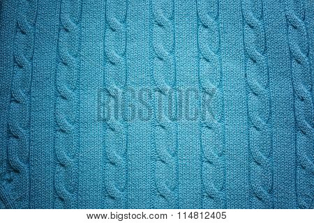 Knitted Woolen Background. Color Of Sea Wave Or Turquoise Red Te