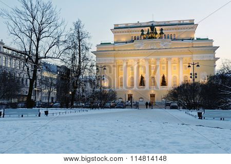 ST. PETERSBURG, RUSSIA - JANUARY 5, 2016: Building of Alexandrinsky theater in a winter evening. Created in 1756, the theater is housed in the building designed by Carlo Rossi since 1832