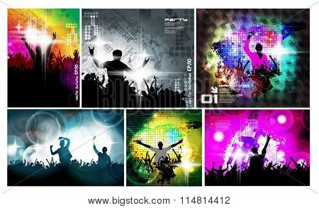 Six backgrounds of party illustration, vector