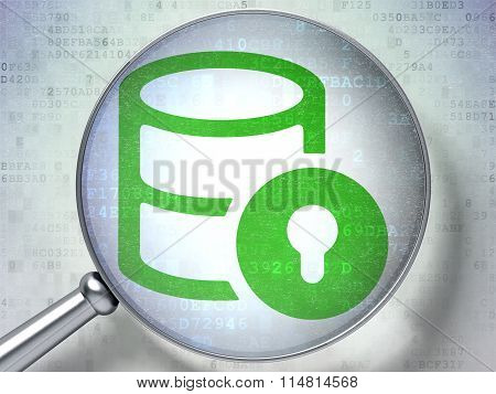 Database concept: Database With Lock with optical glass on digital background