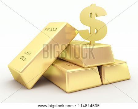 Gold bars and golden dollar symbol