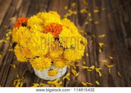 Beautiful Bouquet Of Chrysanthemums Flowers In Wicker Basket, On