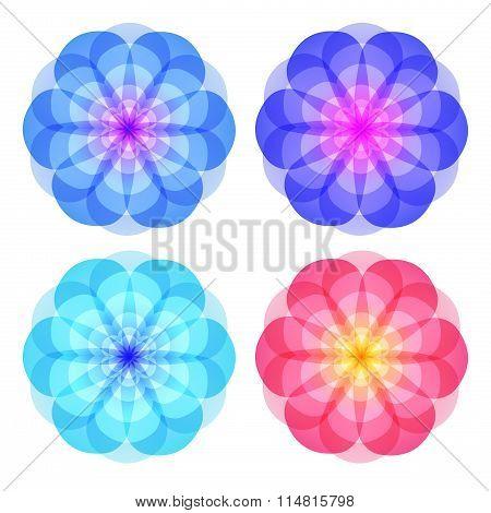 Perfume Set Of Icons Logo Flower White Background