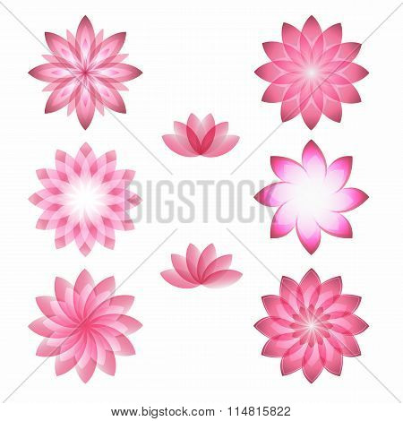 Pink Flowers Logo Set Of Icons A White Background