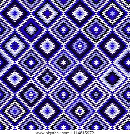Black blue and white aztec ornaments geometric ethnic seamless pattern, vector