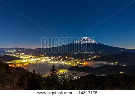aerial Mount Fuji with kawaguchiko Lake at night