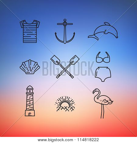 Beach icon set: sailor suit, anchor, dolphin, shell, paddle, swimsuit, lighthouse, sun, flamingo