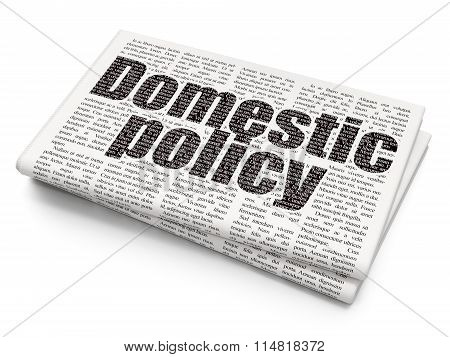 Politics concept: Domestic Policy on Newspaper background