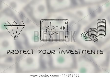 Diamond, Coins And Safe With Text Protect Your Investments On Blurred Dollar Background