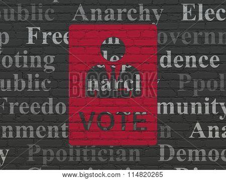 Politics concept: Ballot on wall background